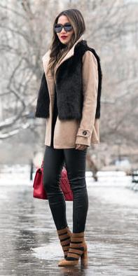 black-leggings-brun-sun-cognac-shoe-pumps-strappy-red-bag-black-vest-fur-tan-jacket-coat-peacoat-fall-winter-lunch.jpg