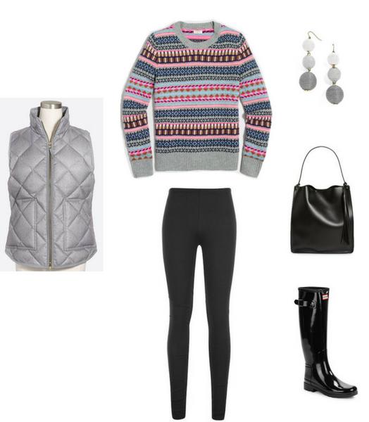 black-leggings-grayl-vest-puffer-grayl-sweater-fairisle-print-black-shoe-boots-rain-wellies-black-bag-earrings-fall-winter-weekend.jpg