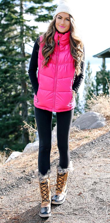 black-leggings-black-tee-pink-magenta-vest-puffer-beanie-tan-shoe-boots-snow-howtowear-fashion-style-outfit-hairr-fall-winter-weekend.jpg