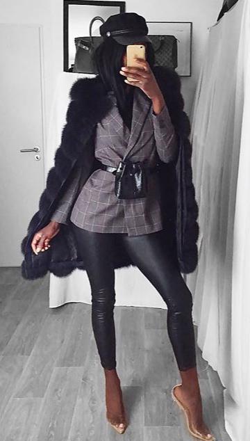 black-leggings-clear-shoe-pumps-black-bag-fannypack-grayd-jacket-blazer-hat-newsboycap-black-jacket-coat-fur-fall-winter-dinner.jpg