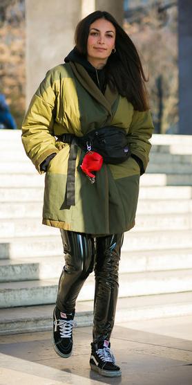 black-leggings-leather-green-olive-jacket-coat-black-bag-fannypack-black-shoe-sneakers-hairr-fall-winter-weekend.jpg