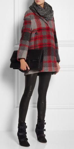 black-leggings-red-jacket-coat-black-bag-clutch-grayd-scarf-wear-outfit-fashion-fall-winter-wedge-plaid-black-shoe-booties-lunch.jpg