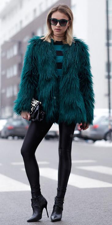 black-leggings-green-dark-sweater-stripe-green-dark-jacket-coat-fur-blonde-lob-sun-black-shoe-booties-fall-winter-dinner.jpg