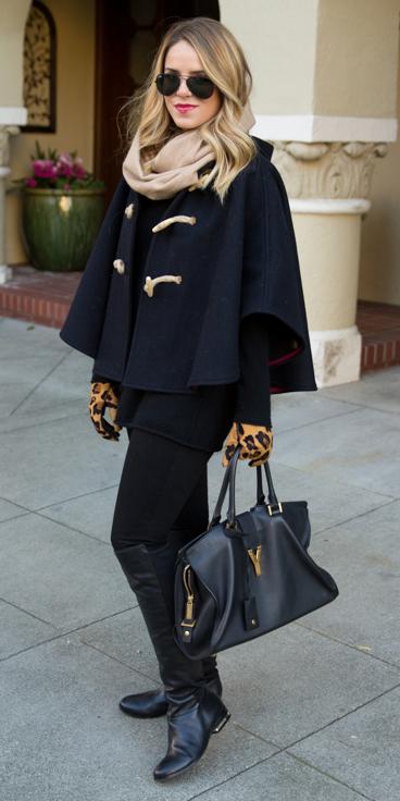 black-leggings-black-sweater-howtowear-fashion-style-outfit-fall-winter-black-jacket-coat-cape-tan-scarf-leopard-gloves-black-bag-sun-blonde-black-shoe-boots-lunch.jpg