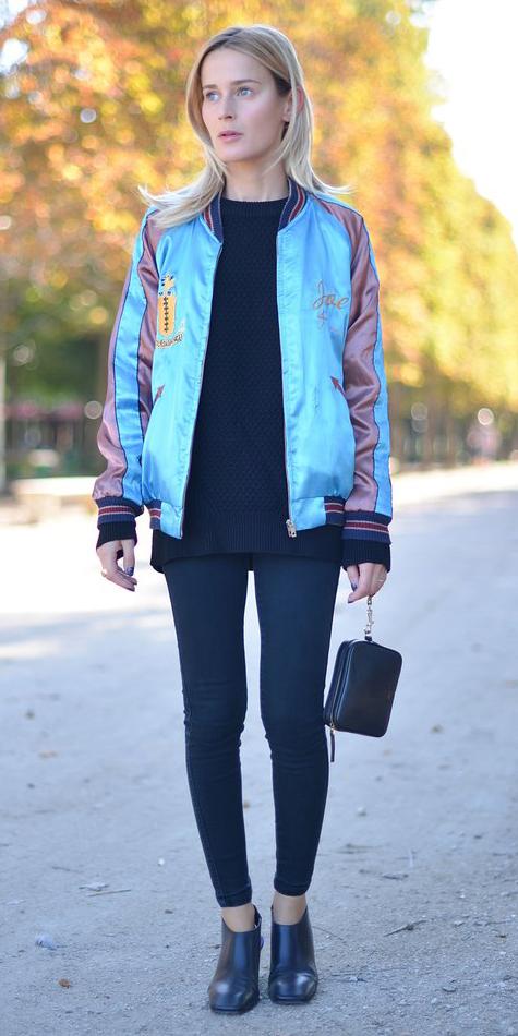 black-leggings-black-sweater-blue-light-jacket-bomber-black-shoe-booties-wear-outfit-fashion-fall-winter-blonde-lunch.jpg