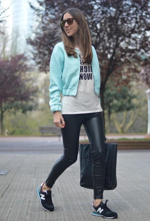 black-leggings-white-graphic-tee-sun-black-bag-black-shoe-sneakers-green-light-jacket-bomber-fall-winter-weekend.jpg
