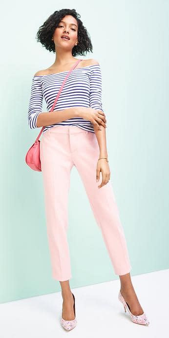 pink-light-slim-pants-blue-navy-tee-stripe-offshoulder-pink-bag-pink-shoe-pumps-brun-spring-summer-lunch.jpg