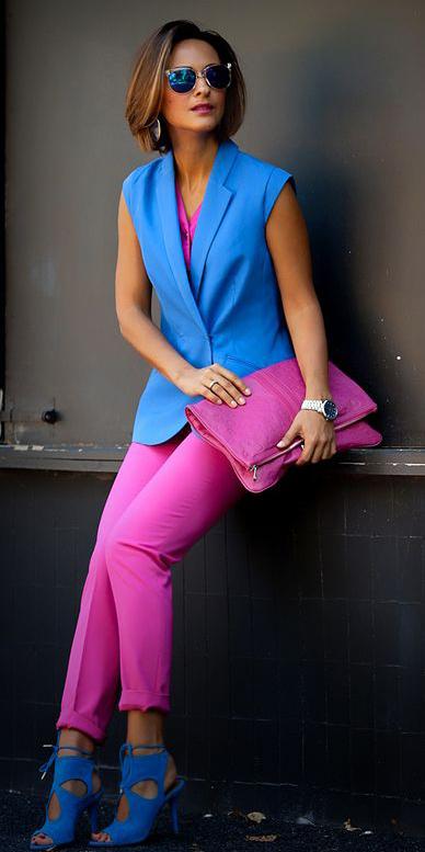 pink-magenta-slim-pants-pink-bag-clutch-blue-shoe-sandalh-hairr-bob-sun-blue-med-vest-tailor-spring-summer-lunch.jpg