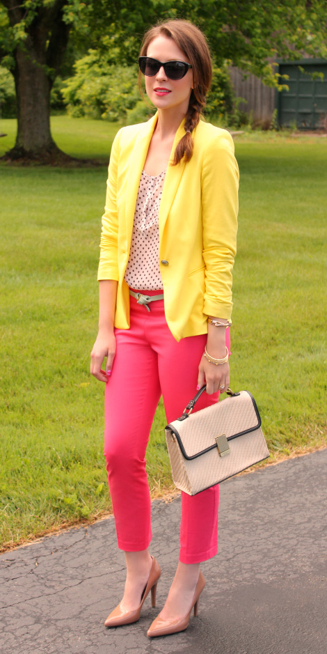 pink-magenta-slim-pants-yellow-jacket-blazer-dot-tan-bag-tan-shoe-pumps-hairr-braid-spring-summer-work.jpg