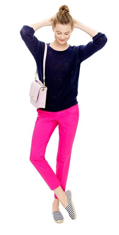 r-pink-magenta-slim-pants-blue-navy-sweater-jcrew-pink-bag-blue-shoe-flats-bun-howtowear-fashion-style-outfit-spring-summer-hairr-lunch.jpg