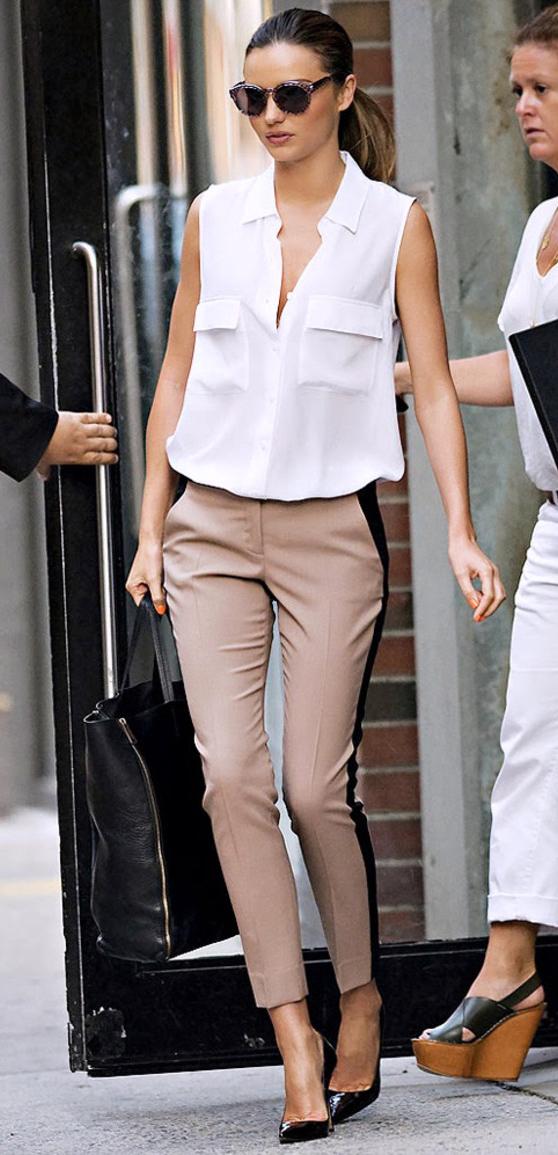 tan-slim-pants-white-top-blouse-black-shoe-pumps-black-bag-tote-sun-pony-mirandakerr-spring-summer-work-tuxedo-stripe.jpg