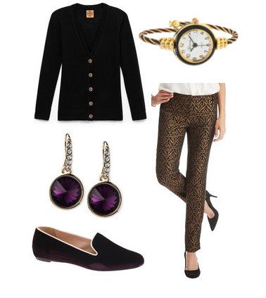 o-tan-slim-pants-black-cardigan-howtowear-fashion-style-outfit-fall-winter-earrings-purple-shoe-loafers-watch-work.jpg