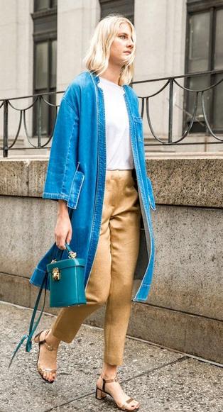 o-tan-slim-pants-white-tee-blue-med-jacket-coat-denim-blue-bag-tan-shoe-sandals-howtowear-fashion-style-outfit-spring-summer-blonde-lunch.jpg