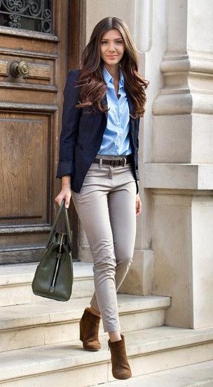 o-tan-slim-pants-blue-light-collared-shirt-blue-navy-jacket-blazer-green-bag-howtowear-fashion-style-outfit-fall-winter-pinstripe-brown-shoe-booties-belt-brun-work.jpg