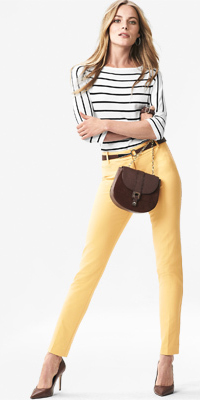 yellow-slim-pants-black-tee-stripe-belt-brown-bag-brown-shoe-pumps-whitehouseblackmarket-blonde-fashion-style-outfit-spring-summer-lunch-work.jpg