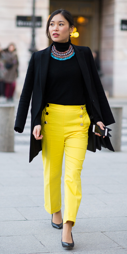 yellow-slim-pants-black-sweater-turtleneck-bib-necklace-turquoise-brun-pony-black-jacket-blazer-black-shoe-pumps-fall-winter-lunch.jpg