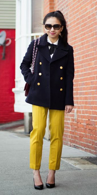 yellow-slim-pants-brun-pony-black-shoe-pumps-black-jacket-coat-peacoat-fall-winter-lunch.jpg