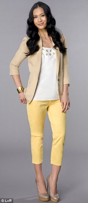 yellow-slim-pants-white-top-tan-jacket-blazer-bracelet-tan-shoe-pumps-howtowear-fashion-style-outfit-spring-summer-brun-lunch.jpg