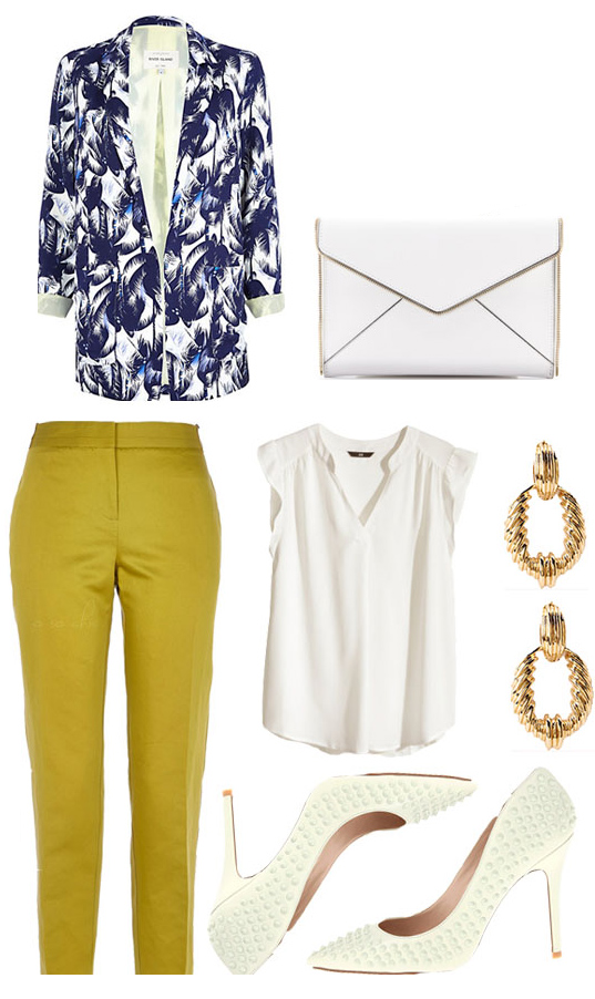 yellow-slim-pants-white-top-blue-navy-jacket-blazer-print-white-shoe-pumps-white-bag-earrings-easter-howtowear-fashion-style-outfit-spring-summer-lunch.jpg
