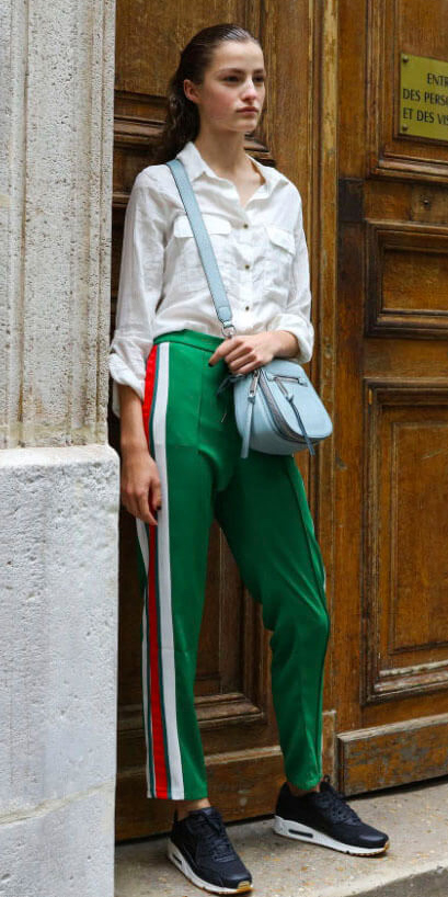 green-emerald-slim-pants-white-collared-shirt-blue-bag-blonde-trackpants-black-shoe-sneakers-fall-winter-lunch.jpg