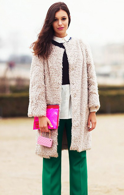 green-emerald-slim-pants-white-collared-shirt-pink-light-jacket-coat-fur-fuzz-howtowear-fashion-style-outfit-fall-winter-paris-pink-bag-clutch-hairr-lunch.jpg