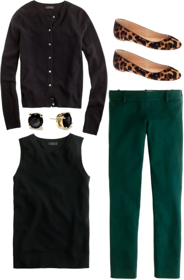 green-dark-slim-pants-black-sweater-sleeveless-black-cardigan-studs-brown-shoe-flats-leopard-fall-winter-work.jpg