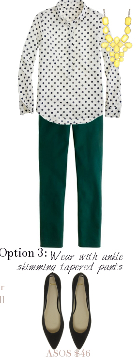 green-dark-slim-pants-white-top-blouse-dot-bib-necklace-black-shoe-pumps-howtowear-fashion-style-outfit-spring-summer-work.jpg