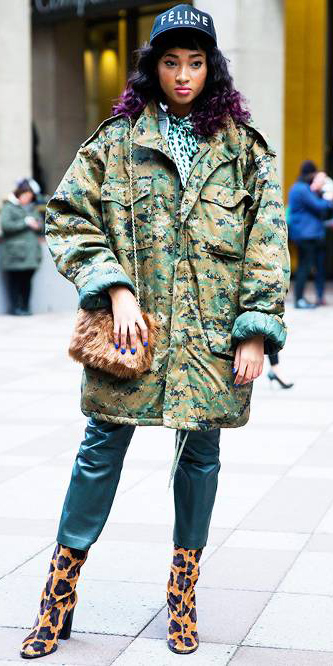 green-dark-slim-pants-leather-camo-print-leopard-brun-hat-camel-bag-tan-shoe-booties-green-olive-jacket-coat-parka-fall-winter-outfit-lunch.jpg
