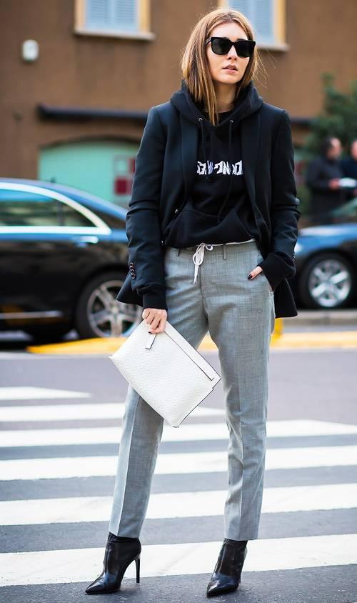 grayl-slim-pants-black-sweater-sweatshirt-graphic-hairr-sun-black-jacket-coat-white-bag-clutch-black-shoe-booties-fall-winter-work.jpg