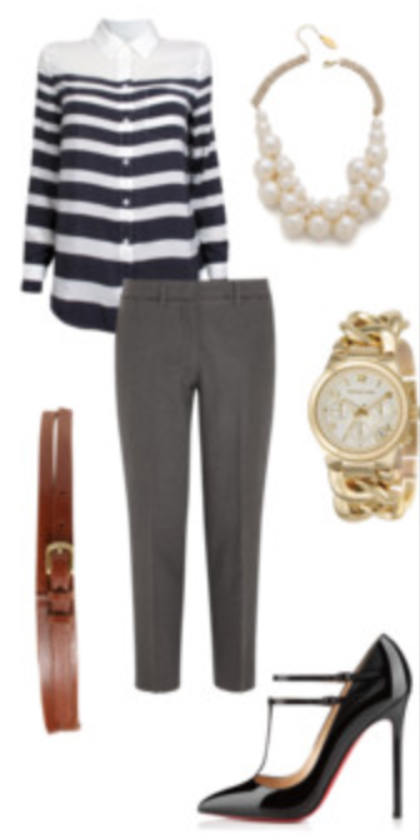 grayd-slim-pants-blue-navy-top-blouse-stripe-belt-watch-howtowear-pearl-bib-necklace-black-shoe-pumps-spring-summer-work.jpg