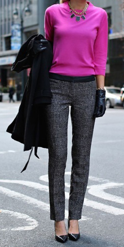 grayd-slim-pants-pink-magenta-sweater-bib-necklace-gloves-black-shoe-pumps-black-jacket-coat-howtowear-fall-winter-work.jpg