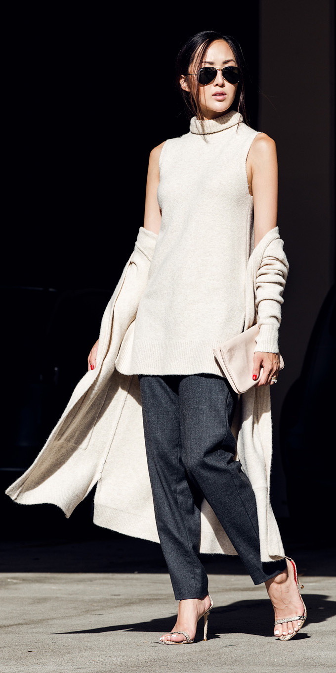 grayd-slim-pants-bun-sun-white-sweater-sleeveless-white-cardiganl-fall-winter-brun-lunch.jpg