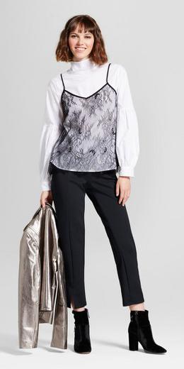 black-slim-pants-black-shoe-booties-lace-white-top-blouse-bob-black-cami-fall-winter-hairr-dinner.jpg