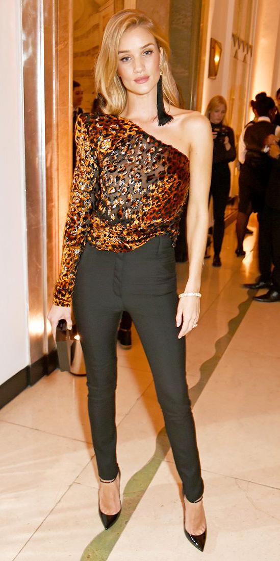 black-slim-pants-leopard-print-camel-top-blouse-oneshoulder-black-earrings-blonde-black-shoe-pumps-rosiehuntingtonwhiteley-fall-winter-nye-dinner.jpg