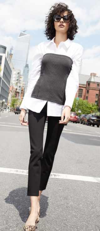 black-slim-pants-white-collared-shirt-layer-tan-shoe-pumps-leopard-howtowear-fall-winter-brun-work.jpg