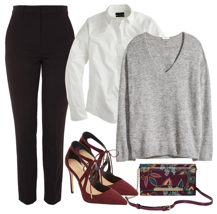 black-slim-pants-white-collared-shirt-layer-grayl-sweater-burgundy-shoe-pumps-burgundy-bag-fall-winter-thanksgiving-outfits-dinner.jpg