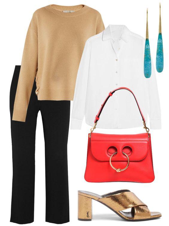 black-slim-pants-blue-earrings-tan-shoe-sandalh-red-bag-tan-sweater-layer-white-collared-shirt-fall-winter-work.jpg