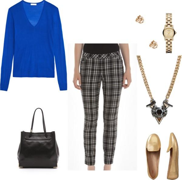 black-slim-pants-plaid-blue-med-sweater-cobalt-black-bag-tan-shoe-loafers-gold-necklace-watch-studs-fall-winter-work.jpg