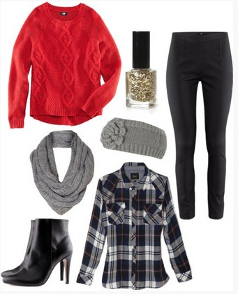 black-slim-pants-black-plaid-shirt-red-sweater-grayl-scarf-head-black-shoe-booties-nail-howtowear-fashion-style-outfit-fall-winter-lunch.jpg