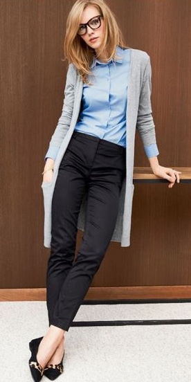 black-slim-pants-blue-light-collared-shirt-grayl-cardiganl-howtowear-fashion-style-outfit-fall-winter-black-shoe-flats-hairr-work.jpg