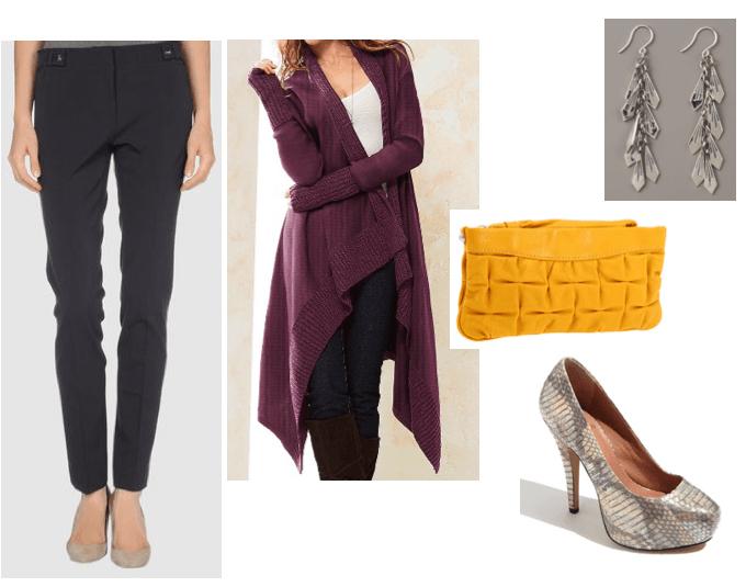 black-slim-pants-purple-royal-cardiganl-tan-shoe-pumps-snakeskin-yellow-bag-earrings-howtowear-fashion-style-outfit-dinner.jpg