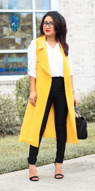 black-slim-pants-white-top-blouse-brun-black-bag-black-shoe-sandalh-yellow-vest-utility-trench-spring-summer-work.jpg