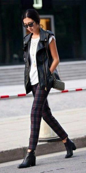 black-slim-pants-plaid-white-tee-brun-sun-black-bag-black-shoe-booties-black-vest-moto-fall-winter-weekend.jpg