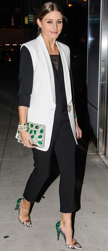 black-slim-pants-black-top-white-vest-tailor-style-outfit-fall-winter-snakeskin-gray-shoe-pumps-night-evening-oliviapalermo-bracelet-green-bag-clutch-hairr-bun-dinner.jpg
