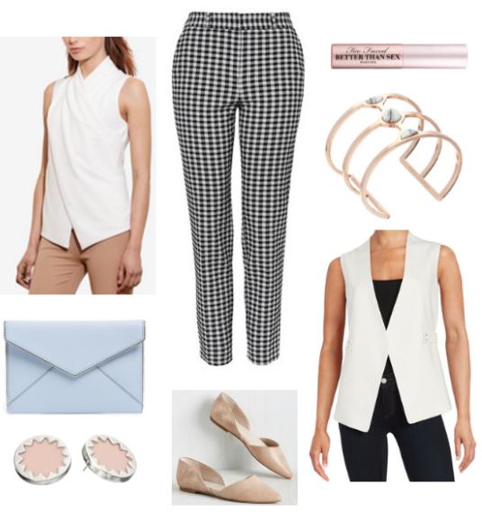 black-slim-pants-white-top-white-vest-tailor-tan-shoe-flats-blue-bag-clutch-howtowear-fashion-style-outfit-spring-summer-print-gingham-studs-bracelet-cuff-work.jpg