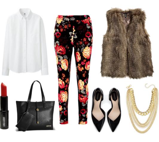 black-slim-pants-white-top-blouse-brown-vest-fur-black-bag-howtowear-fashion-style-outfit-fall-winter-floral-black-shoe-pumps-necklace-work.jpg