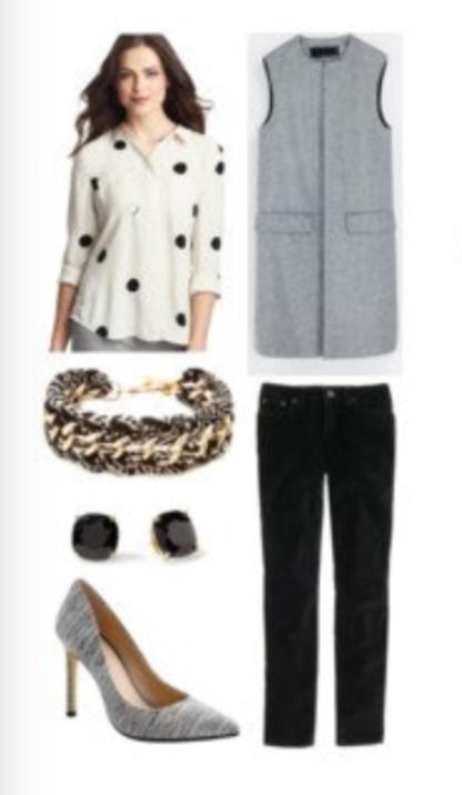 black-slim-pants-white-top-blouse-gray-shoe-pumps-grayl-vest-tailor-bracelet-howtowear-dot-studs-fall-winter-brun-work.jpg