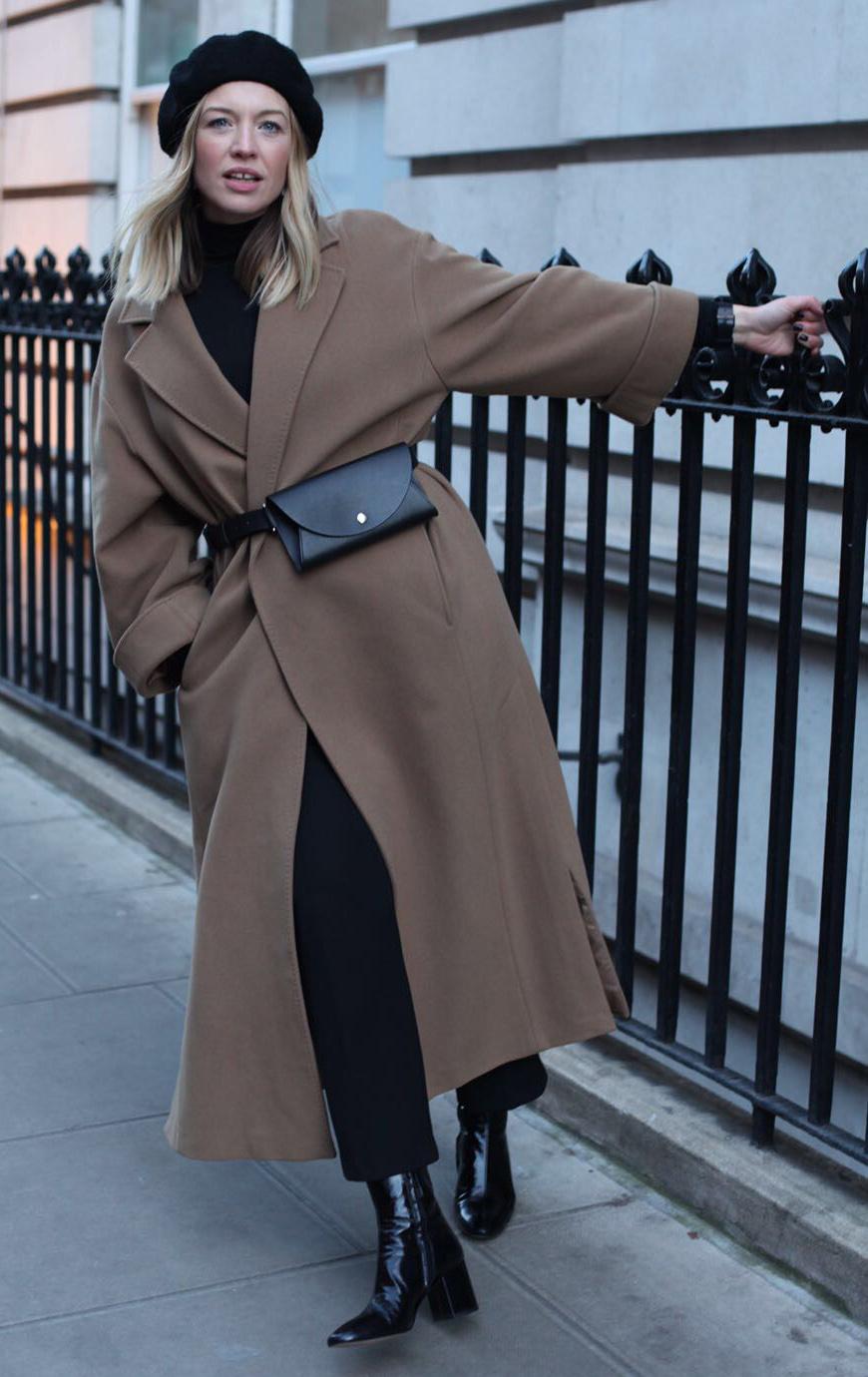black-slim-pants-camel-jacket-coat-maxi-black-bag-fannypack-beret-hat-black-sweater-turtleneck-blonde-black-shoe-booties-fall-winter-weekend.jpg