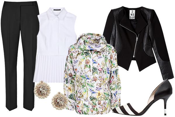 black-slim-pants-white-top-earrings-floral-print-white-jacket-bomber-black-jacket-moto-black-shoe-pumps-track-jacket-fall-winter-lunch.jpg