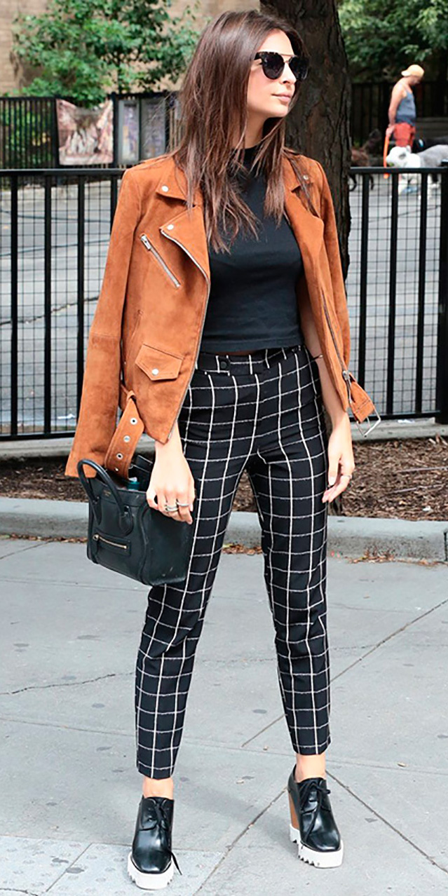 black-slim-pants-black-tee-sun-windowpane-print-black-shoe-booties-camel-jacket-moto-fall-winter-brun-lunch.jpg
